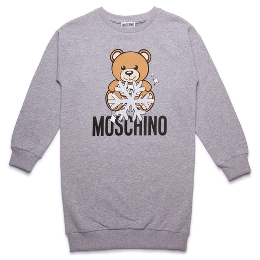 Moschino - Grey Cotton Teddy Bear Sweatshirt Dress - Kids clothing at BOYS & GIRLS ONLINE