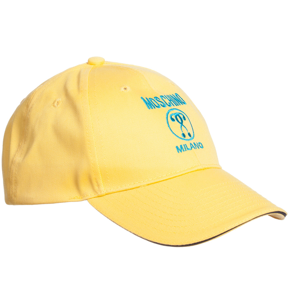 MOSCHINO Yellow Cotton Question Mark Logo Cap HYX001 E0528 50783 at BOYS & GIRLS ONLINE