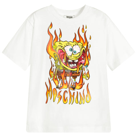 MOSCHINO - Spongebob Cloud T-Shirt - T-Shirts Short Sleeve Girl at BOYS & GIRLS ONLINE