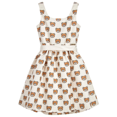 MOSCHINO - Teddy Bear Ivory Satin Dress - Dresses at BOYS & GIRLS ONLINE