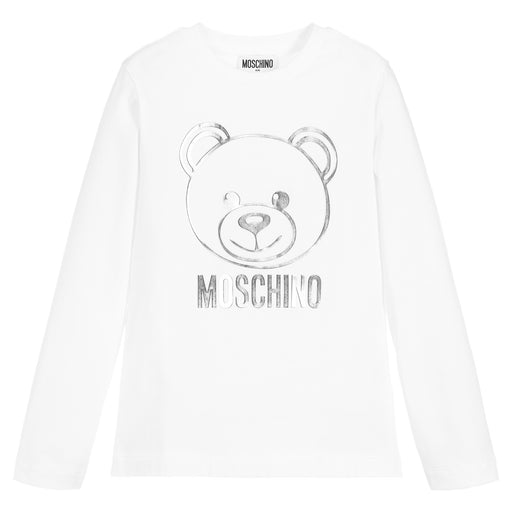 Moschino White and Silver Cotton Logo Top - Kids clothes online | BOYS & GIRLS ONLINE