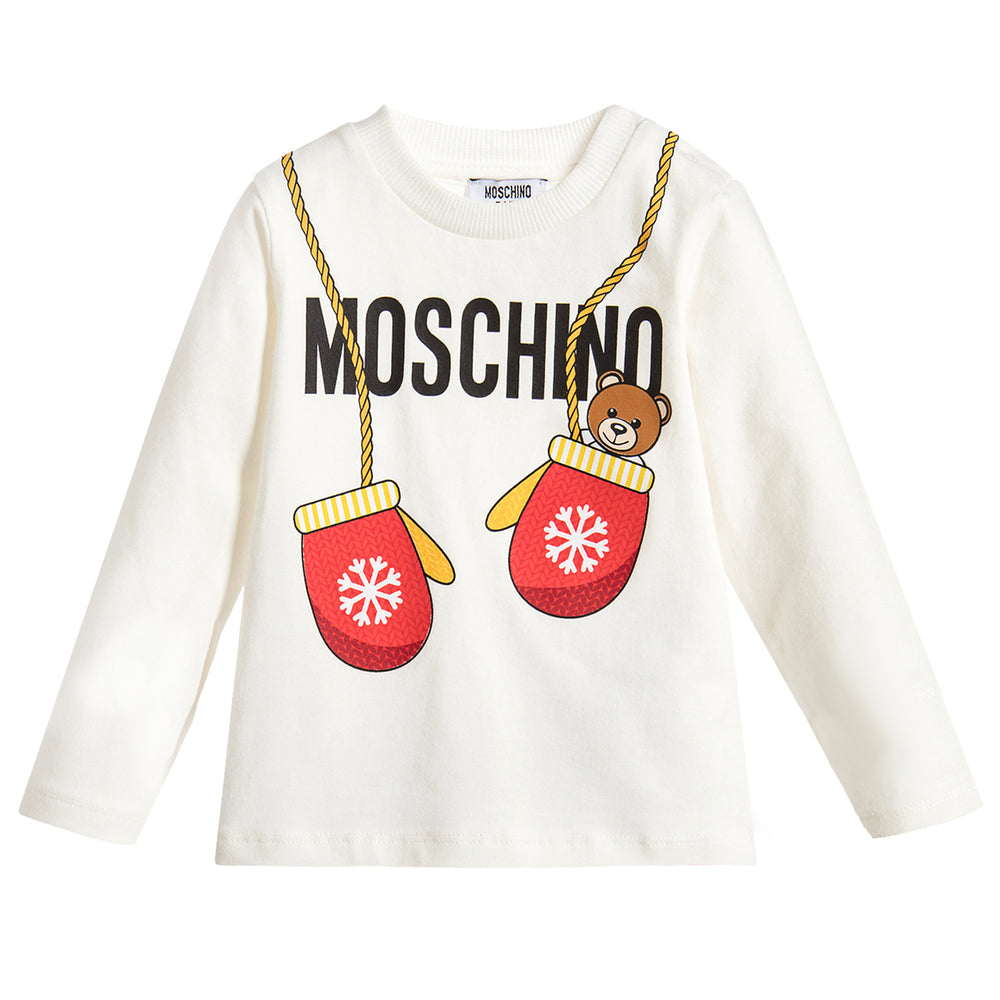 MOSCHINO White Teddy Bear Print Top at BOYS & GIRLS ONLINE