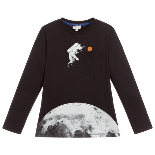 Paul Smith Boys Black Cotton Jersey Top - Kids clothes online | BOYS & GIRLS ONLINE