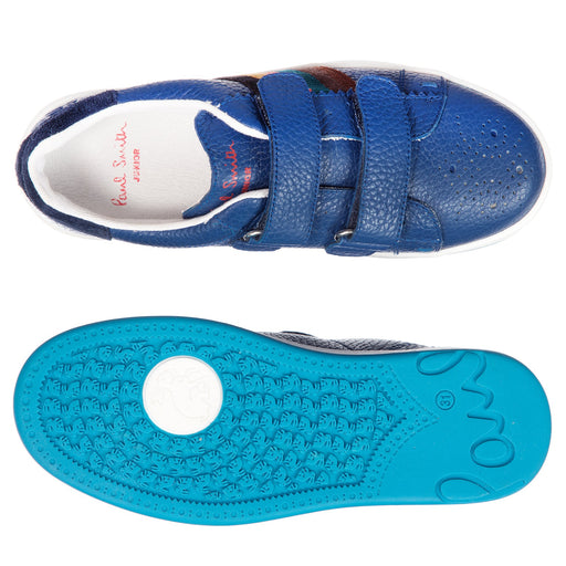 Paul Smith - Blue Double Velcro RABBIT STRAP Trainers - Kids clothing at BOYS & GIRLS ONLINE