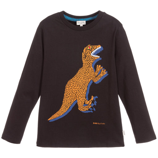 Paul Smith - Boys Black Cotton Jersey Dino Top - Kids clothing at BOYS & GIRLS ONLINE
