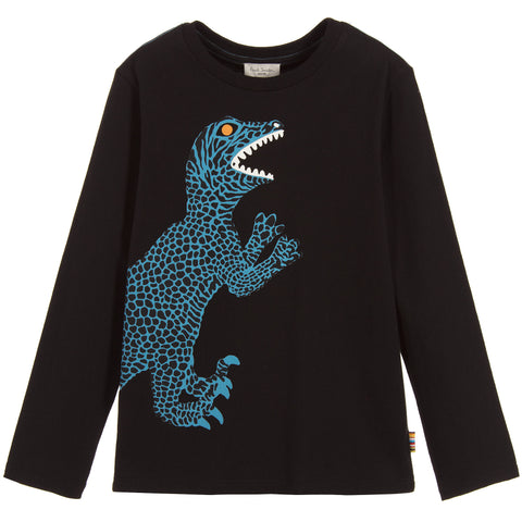 Paul Smith Junior Boys Black Dinosaur Parry T-Shirt 5K10642