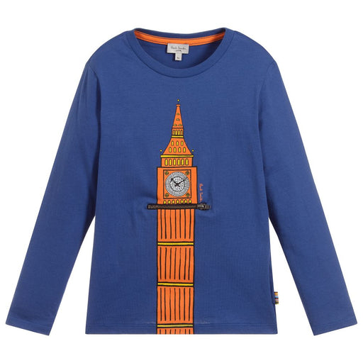 Paul Smith - Boys Blue Cotton Top - Kids clothing at BOYS & GIRLS ONLINE