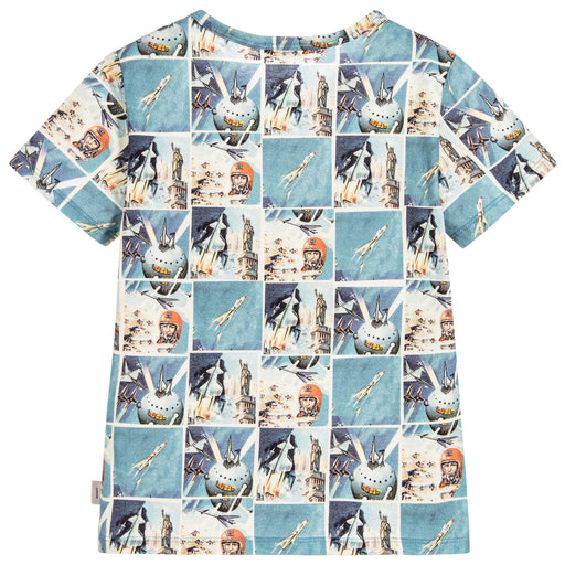 Paul Smith Junior Boys Blue Space Print Pollux Cotton T-Shirt 5K10532 | BOYS & GIRLS ONLINE | Designer clothes for children online