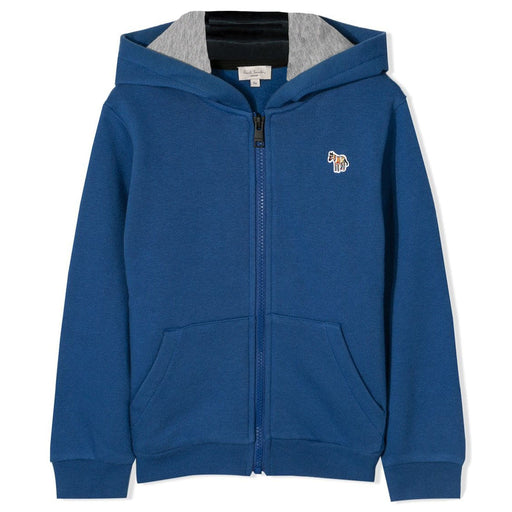 Boys Blue Zip Through Side Stripe Hoodie