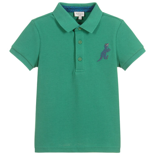 Boys Green Cotton TANER Polo Shirt