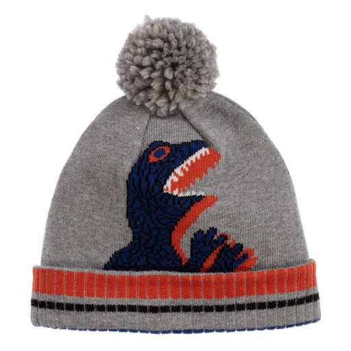 Boys Grey Cotton Dino Pom-Pom Hat