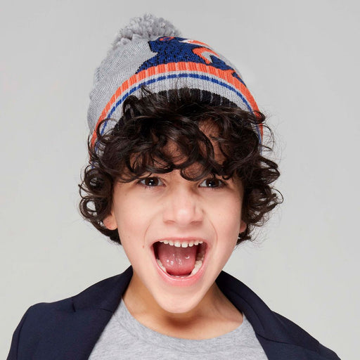 Paul Smith Boys Grey Cotton Dino Pom-Pom Hat - Kids clothes online | BOYS & GIRLS ONLINE