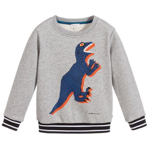 Boys Grey Cotton Dino Sweatshirt