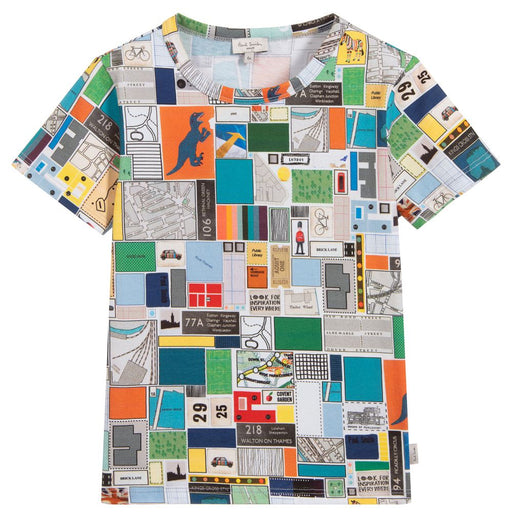 Paul Smith Boys Grey Cotton Map Scrapbook T-Shirt - Kids clothes online | BOYS & GIRLS ONLINE