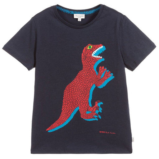 Boys Navy Blue Cotton Dino T-Shirt