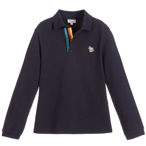 Paul Smith - Boys Navy Blue Piqué Polo Shirt - Kids clothing at BOYS & GIRLS ONLINE