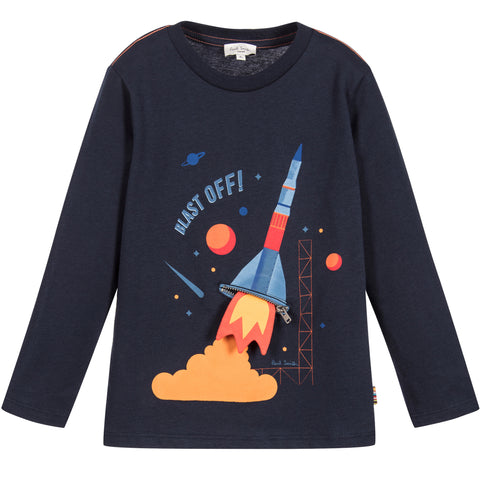 Paul Smith Junior Boys Navy Blue Rocket Peeps Top 5K10562 | BOYS & GIRLS ONLINE | Designer clothes for children