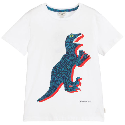 Paul Smith - Boys White Cotton Dino T-Shirt - Kids clothing at BOYS & GIRLS ONLINE