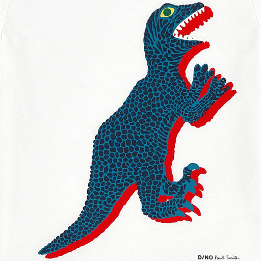 Boys White Cotton Dino T-Shirt