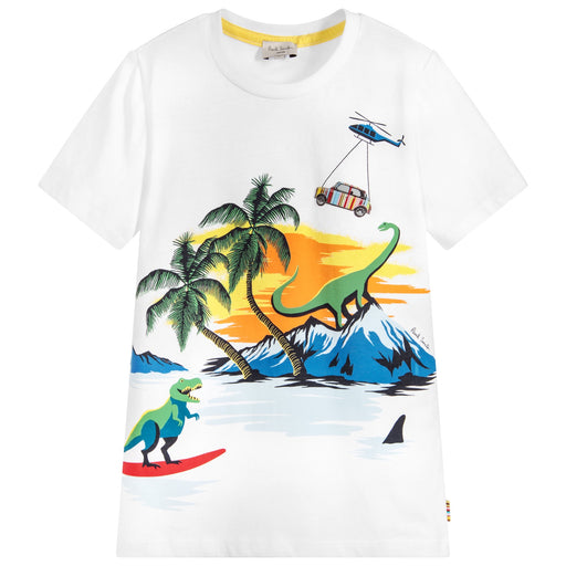 Boys White Cotton THIMOTY T-Shirt