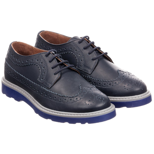 Dark Navy Leather GRAND Brogue Shoes