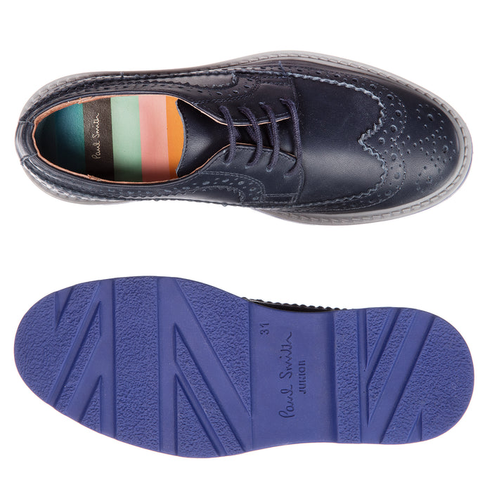 Paul Smith-Dark Navy Leather GRAND Brogue Shoes-boysgirlsonline.com