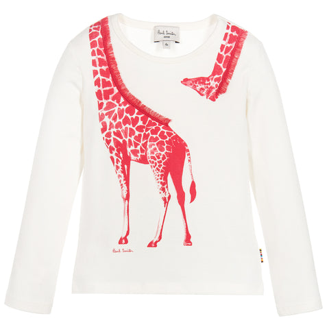 Paul Smith Junior Girls Ivory & Pink Giraffe Primavera Top 5K10092 | BOYS & GIRLS ONLINE | Designer clothes for children online