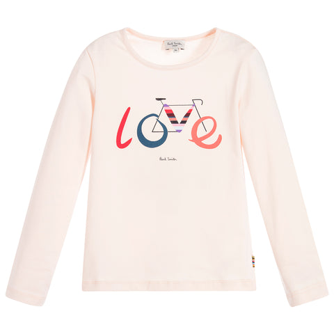 "Paul Smith Junior - Girls Pale Pink ""LOVE"" Pia T-Shirt 