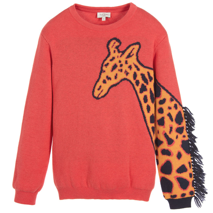 Paul Smith-Girls Pink Giraffe PAVELA Sweater-boysgirlsonline.com