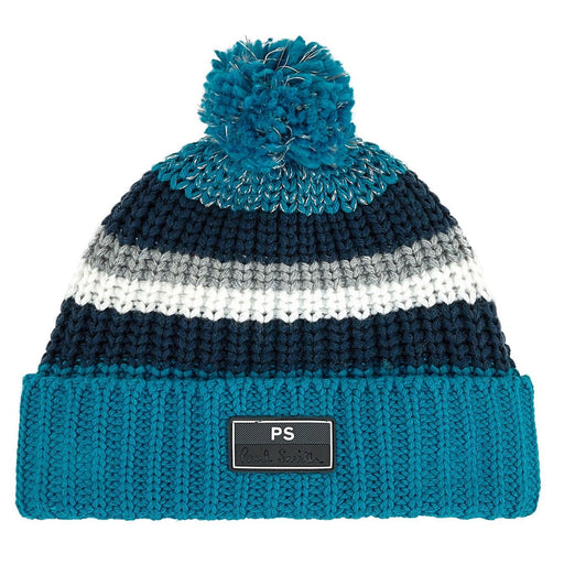 Paul Smith Teal Blue Knitted Hat with Pom-Pom - Kids clothes online | BOYS & GIRLS ONLINE