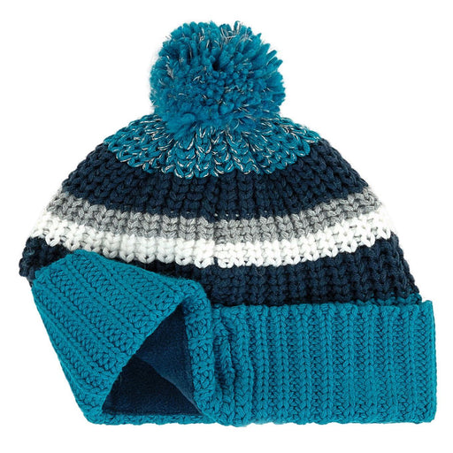 Teal Blue Knitted Hat with Pom-Pom