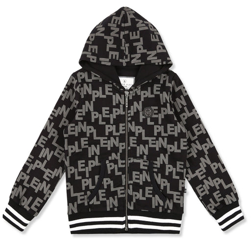 Philipp Plein Black-Grey Hoodie Sweatjacket Thunder - Kids clothes online | BOYS & GIRLS ONLINE