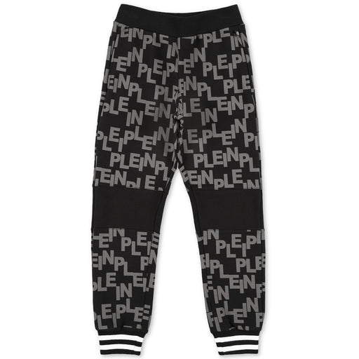 Philipp Plein Black-Grey Jogging Trousers All over PP - Kids clothes online | BOYS & GIRLS ONLINE