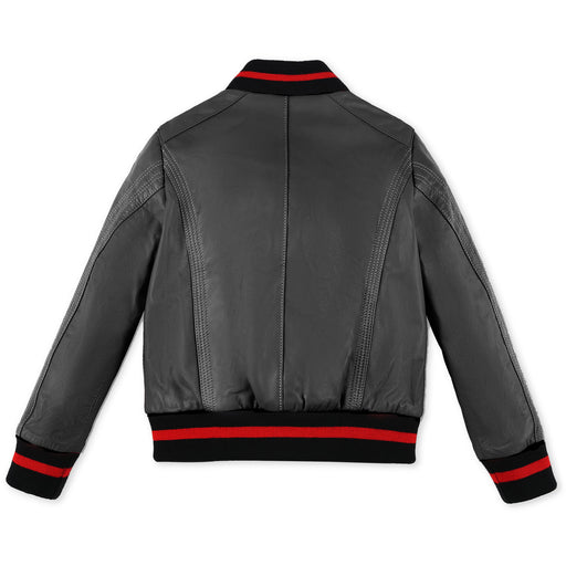 Philipp Plein Black Leather Bomber Original - Kids clothes online | BOYS & GIRLS ONLINE