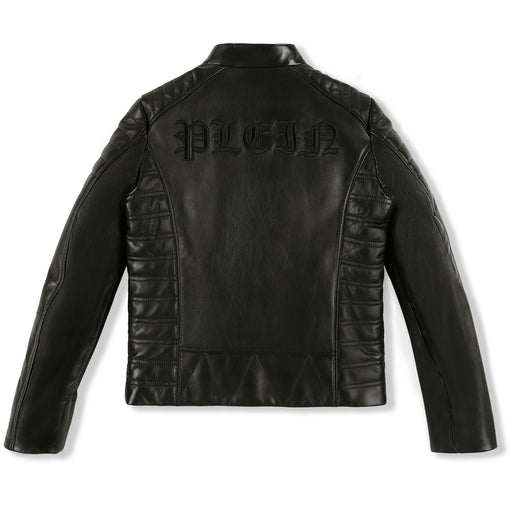 Philipp Plein Black Leather Moto Jacket Gothic Plein - Kids clothes online | BOYS & GIRLS ONLINE