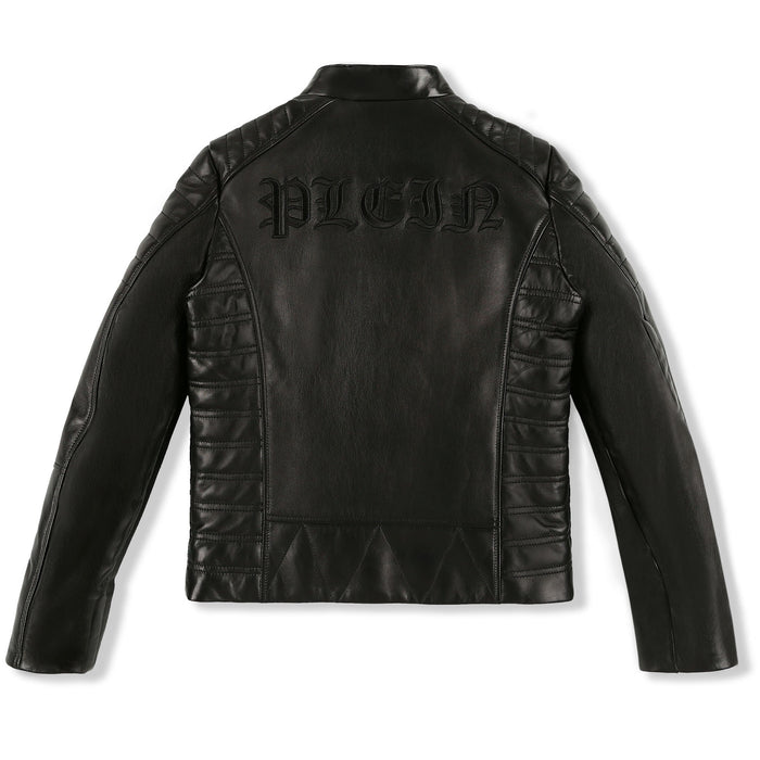 Philipp Plein - Black Leather Moto Jacket Gothic Plein - Kids clothing at BOYS & GIRLS ONLINE
