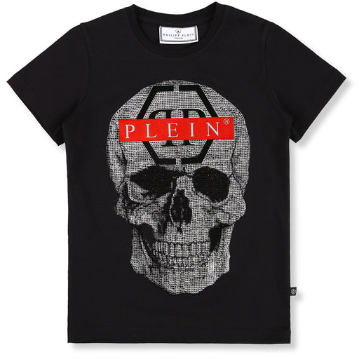 Black T-shirt Round Neck SS Skull