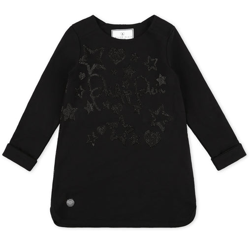 Philipp Plein Girls Black Jogging Day Dress Signature - Kids clothes online | BOYS & GIRLS ONLINE