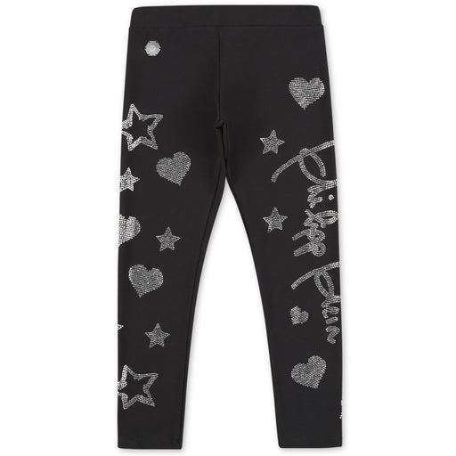 Girls Black Jogging Leggings Stars