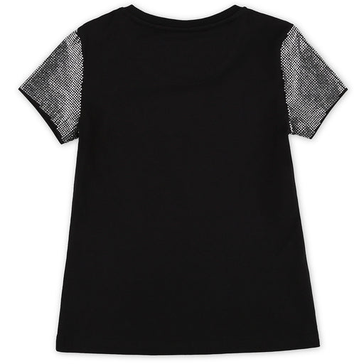 Girls Black T-shirt Round Neck SS Stars