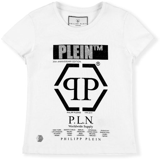 Philipp Plein Girls White T-shirt Round Neck SS P.L.N. - Kids clothes online | BOYS & GIRLS ONLINE