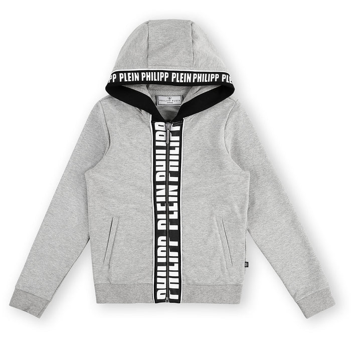 Philipp Plein Grey Hoodie Sweatjacket Skull - Kids clothes online | BOYS & GIRLS ONLINE