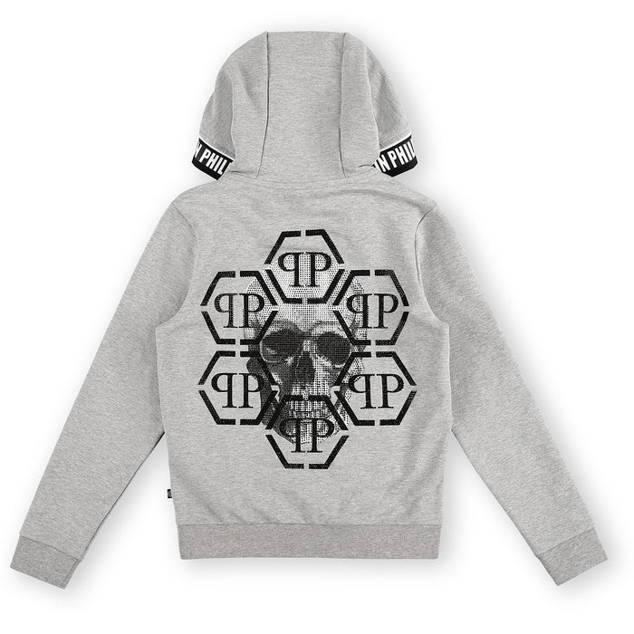 Philipp Plein - Grey Hoodie Sweatjacket Skull - Kids clothing at BOYS & GIRLS ONLINE