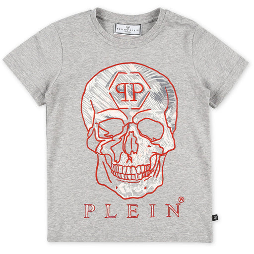 Philipp Plein Grey T-shirt Round Neck SS Skull - Kids clothes online | BOYS & GIRLS ONLINE