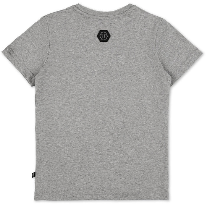 Philipp Plein - Grey T-shirt Round Neck SS Skull - Kids clothing at BOYS & GIRLS ONLINE