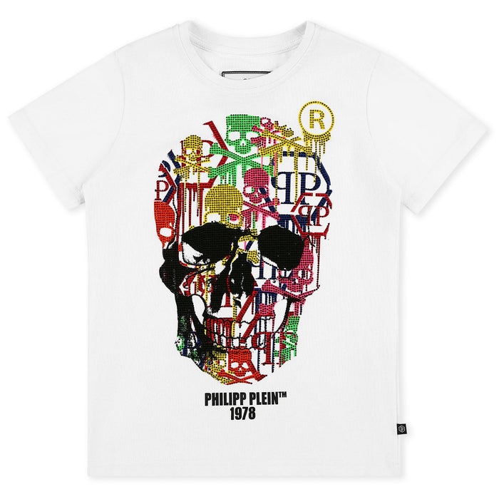 Boys White T-shirt Round Neck SS Skull