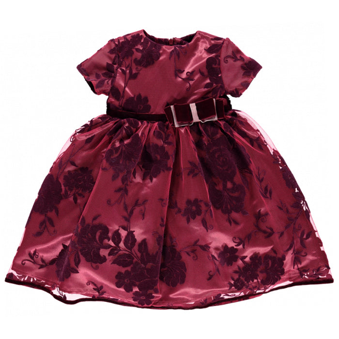 Piccola Speranza Embroidered Eggplant Satin Dress at BOYS & GIRLS ONLINE