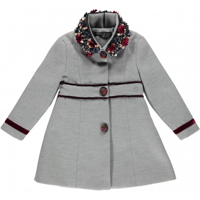 Girls Grey Coat with Flowers