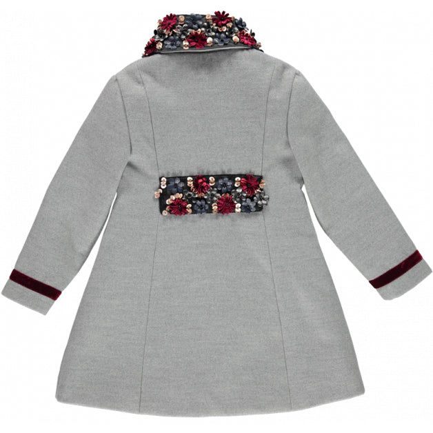 Piccola Speranza-Girls Grey Coat with Flowers-boysgirlsonline.com