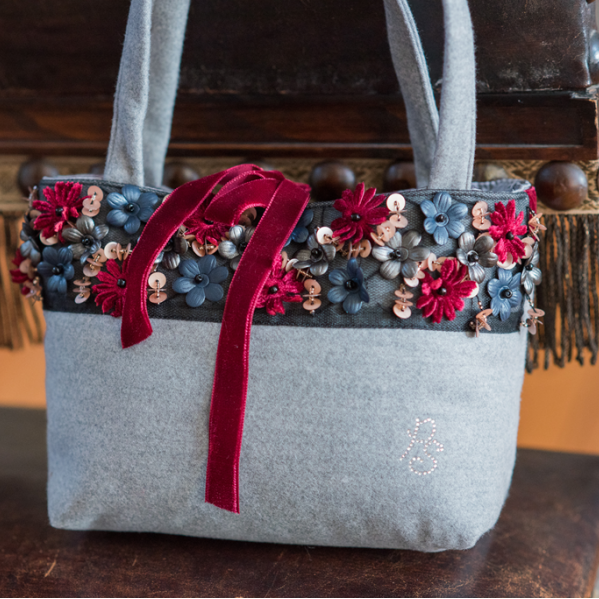Piccola Speranza Girls Grey HandBag with Flowers at BOYS & GIRLS ONLINE